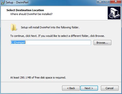 Choose a folder for installing Padre