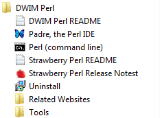Check Start menu folder, you will see DWIM Perl with tools are available