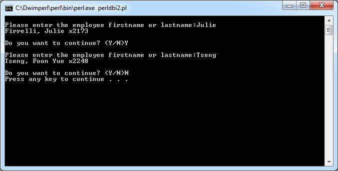 Perl DBI Example